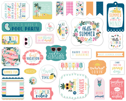 Pool Party Collection 5 x 5 Scrapbook Ephemera Die Cuts by Echo Park Paper