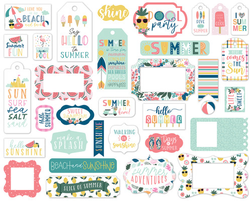 Pool Party Collection 5 x 5 Scrapbook Tags & Frames Die Cuts by Echo Park Paper