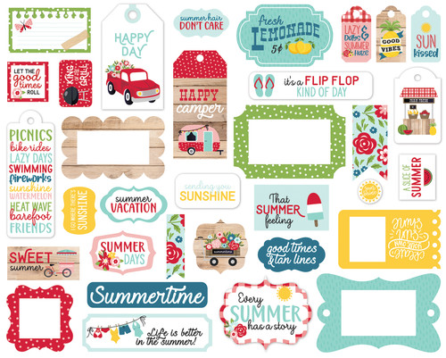 Slice of Summer Collection 5 x 5 Scrapbook Tags & Frames Die Cuts by Echo Park Paper