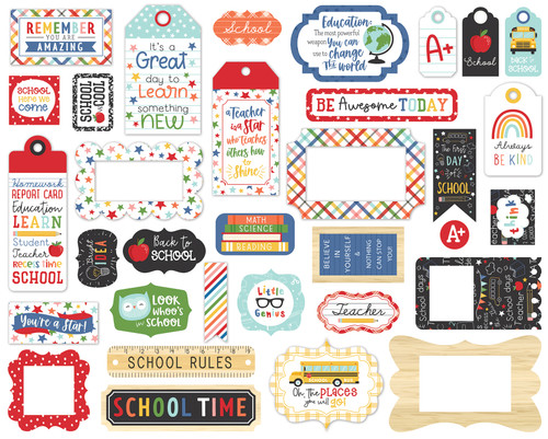 I Love School Collection 5 x 5 Scrapbook Tags & Frames Die Cuts by Echo Park Paper