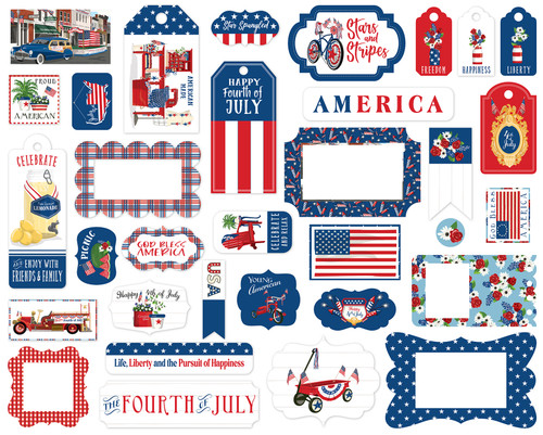 God Bless America Collection 5 x 5 Scrapbook Tags & Frames Die Cuts by Carta Bella
