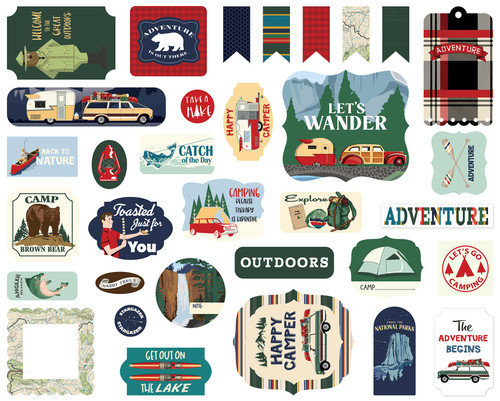 Outdoor Adventures Collection 5 x 5 Scrapbook Ephemera Die Cuts by Carta Bella