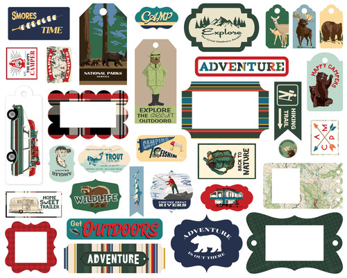 Outdoor Adventures Collection 5 x 5 Scrapbook Tags & Frames Die Cuts by Carta Bella