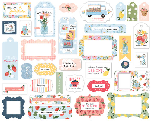 Summer Collection 5 x 5 Scrapbook Tags & Frames Die Cuts by Carta Bella