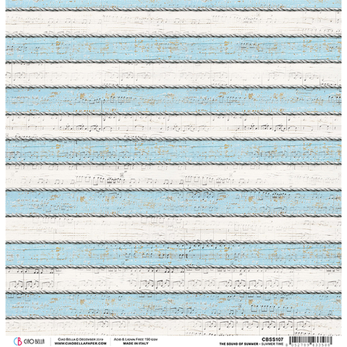 The Sound of Summer Collection Summertime 12 x 12 Double-Sided Scrapbook Paper by Ciao Bella