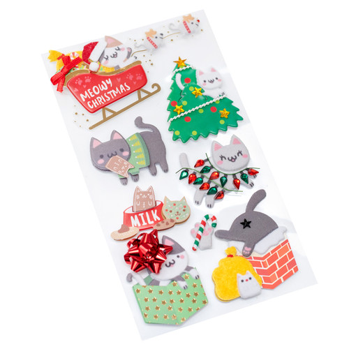 Holiday Collection Meowy Christmas 4 x 7 Scrapbook Embellishment by Jolee's Boutique
