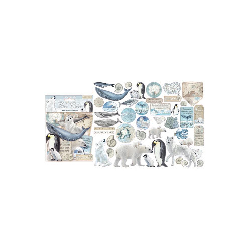 Arctic Antarctic Collection 5 x 5 Chipboard Die Cut Scrapbook Embellishments by Stamperia - 45 Pieces