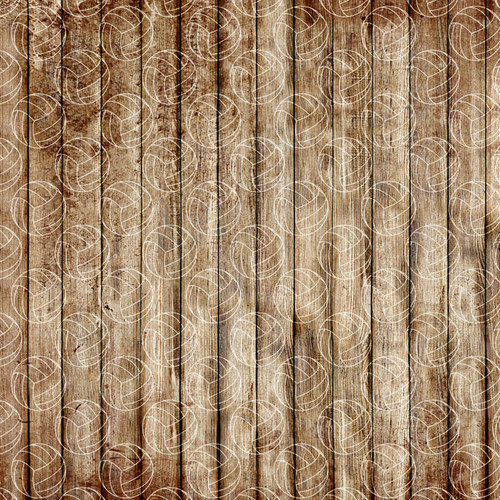 Wood Sports Collection Volleyball Brown Wood 12 x 12 Double-Sided Scrapbook Paper by Scrapbook Customs