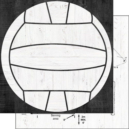Wood Sports Collection Volleyball White Wood 12 x 12 Double-Sided Scrapbook Paper by Scrapbook Customs