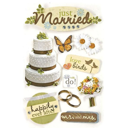 Wedding Collection Just Married 5 x 7 Glitter 3D Scrapbook Embellishment by Paper House Productions