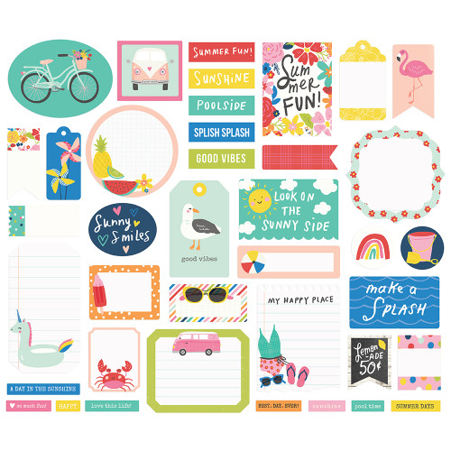 Sunkissed Collection Journal Bits Die Cut Cardstock Pieces by Simple Stories