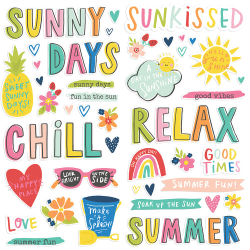 Sunkissed Collection 6 x 12 Foam Scrapbook Stickers by Simple Stories