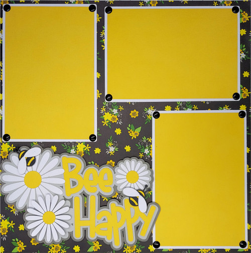 Bee Happy Premade Embellished Two-Page 12 x 12 Scrapbook Layout by SSC Designs