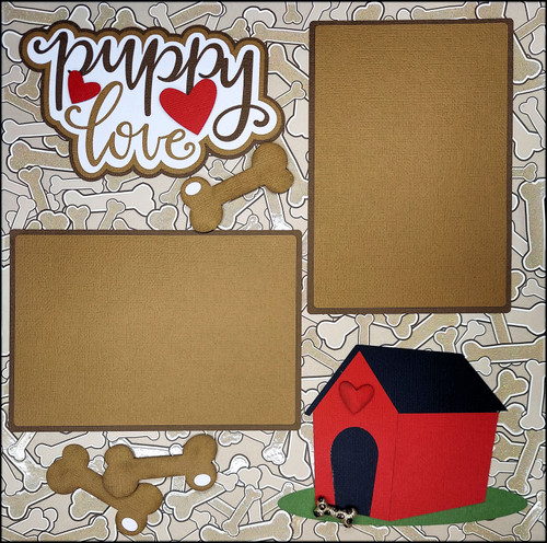 Puppy Love 2- 12 x 12 Pages, Fully-Assembled & Hand-Embellished 3D Scrapbook Layout by SSC Designs