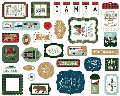 Let's Go Camping Collection 5 x 5 Scrapbook Ephemera Die Cuts by Echo Park Paper
