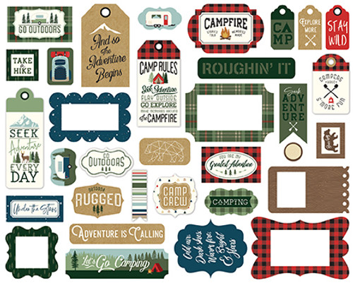 Let's Go Camping Collection 5 x 5 Scrapbook Tags & Frames Die Cuts by Echo Park Paper
