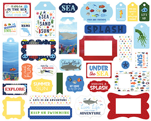 Under Sea Adventures Collection 5 x 5 Scrapbook Tags & Frames Die Cuts by Echo Park Paper