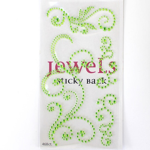 Our Brads Need Friends Collection 4 x 7 Green Swirls Rhinestone Scrapbook Bling by Eyelet Outlet