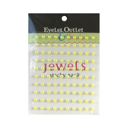 Our Brads Need Friends Collection Pearl Yellow Self-Adhesive Pearls by Eyelet Outlet - 100 Pearls
