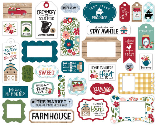 Farmer's Market Collection 5 x 5 Scrapbook Tags & Frames Die Cuts by Echo Park Paper
