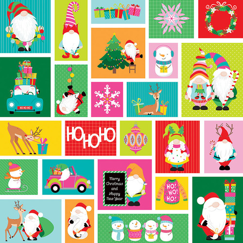 Tulla & Norbert's Christmas Party Collection No Peeking 12 x 12 Double-Sided Scrapbook Paper by Photo Play Paper