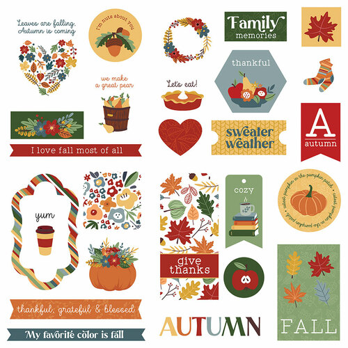 Autumn Greetings Collection 5 x 5 Die Cut Scrapbook Embellishments by Photo Play Paper
