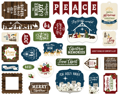 The First Noel Collection 5 x 5 Scrapbook Ephemera Die Cuts by Echo Park Paper