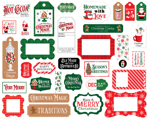 Christmas Cheer Collection 5 x 5 Scrapbook Tags & Frames Die Cuts by Carta Bella