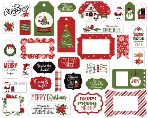 Christmas Magic Collection 5 x 5 Scrapbook Tags & Frames Die Cuts by Echo Park Paper