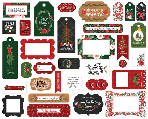 Happy Christmas Collection 5 x 5 Scrapbook Tags & Frames Die Cuts by Carta Bella