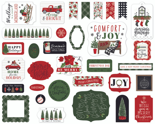 Home For Christmas Collection 5 x 5 Scrapbook Ephemera Die Cuts by Carta Bella