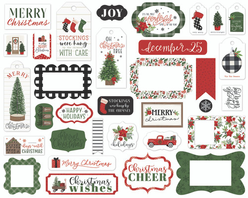 Home For Christmas Collection 5 x 5 Scrapbook Tags & Frames Die Cuts by Carta Bella