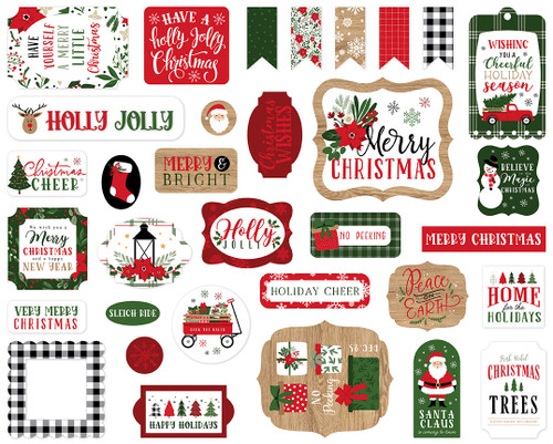 Jingle All The Way Collection 5 x 5 Scrapbook Ephemera Die Cuts by Echo Park Paper