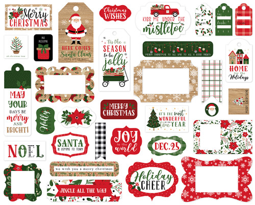 Jingle All The Way Collection 5 x 5 Scrapbook Tags & Frames Die Cuts by Echo Park Paper