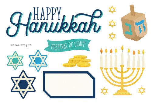 Happy Hanukkah Collection 4 x 8 Simple Pages Pieces by Simple Stories - 15 Pieces