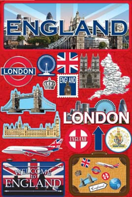 Jetsetter Collection England 5 x 7 Scrapbook Embellishment by Reminisce