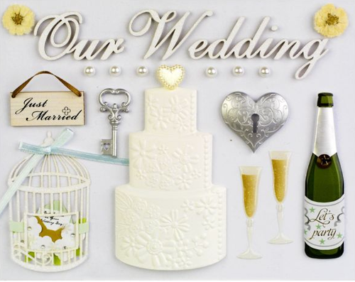 """Delicately Crafted Collection Wedding Large 6"""" x 8"""" Hand-Crafted Scrapbook Embellishment by Little B"""