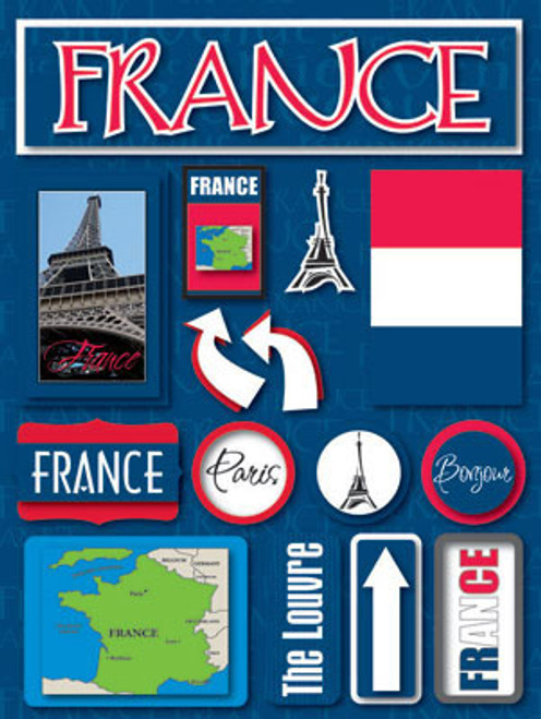 Jetsetter Collection France 5 x 7 Scrapbook Embellishment by Reminisce