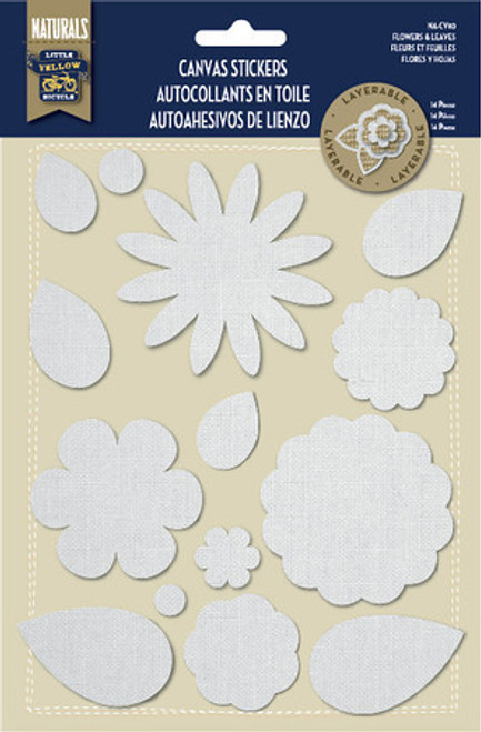 Naturals Collection Canvas Flowers & Leaves Stickers by Little Yellow Bicycle - 14 Pieces
