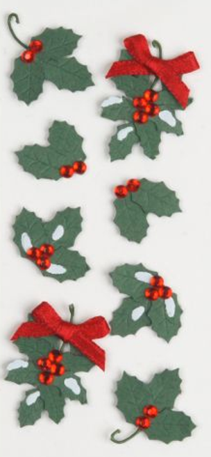 """Delicately Crafted Collection Holly and Berries Mini 2"""" x 5"""" Hand-Crafted Scrapbook Embellishment by Little B"""