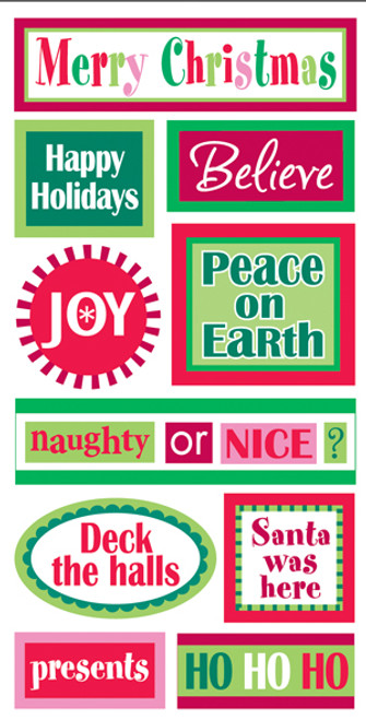 Christmas Words Large Essentials Scrapbook Embellishment by Sandylion