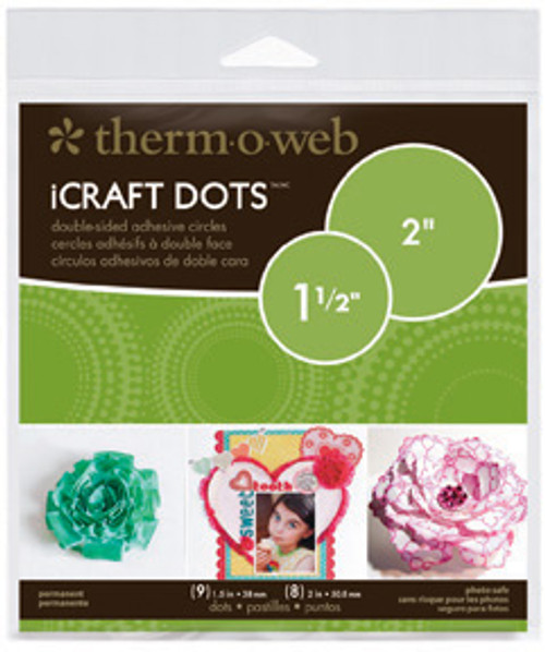 """iCraft Permanent Adhesive Craft Dots by Therm-o-Web (9 -1 1/2"""" and 8 - 2"""" dots)"""