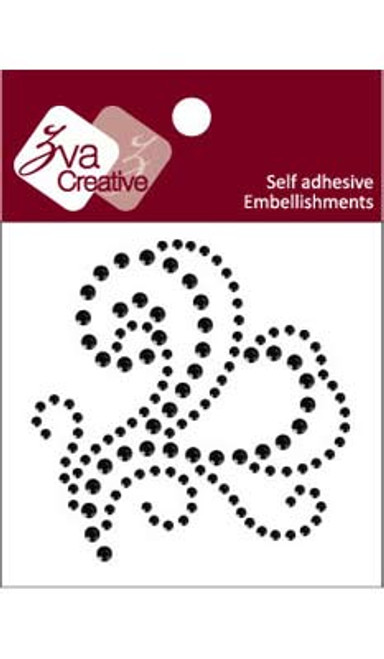 Jet Black Rhinestone Whirl Flourish Embellishment by Zva Creative