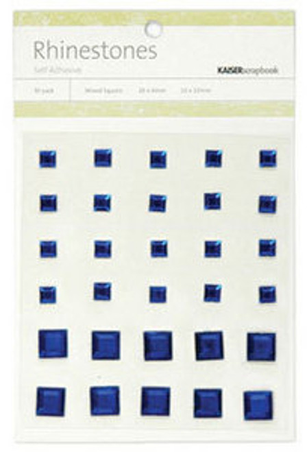 Dark Blue Rhinestone Self-Adhesive Mixed Squares by Kaisercraft