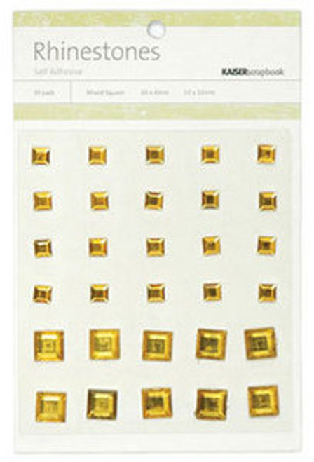 Deep Yellow Rhinestone Self-Adhesive Mixed Squares by Kaisercraft