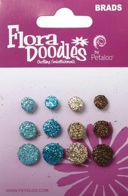 Flora Doodles Collection Aqua Teal Tan Brown Glittered Foam Brads by Petaloo - Pkg. of 12
