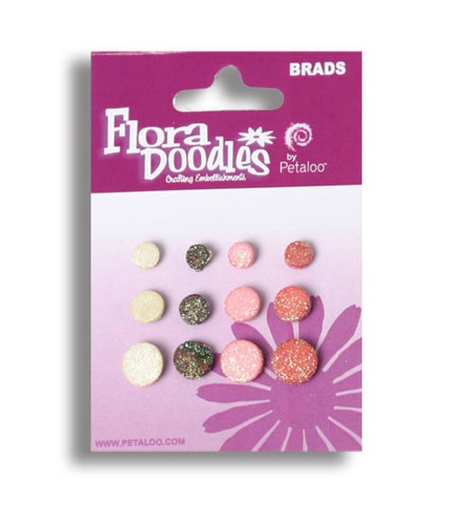 Flora Doodles Collection Yummy Cupcake Foam Glitter Brads by Petaloo - Pkg. of 12