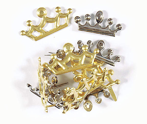 Disneyana Collection Princess Gold & Silver Crown Brads by Hot Off The Press - Pkg. of 12