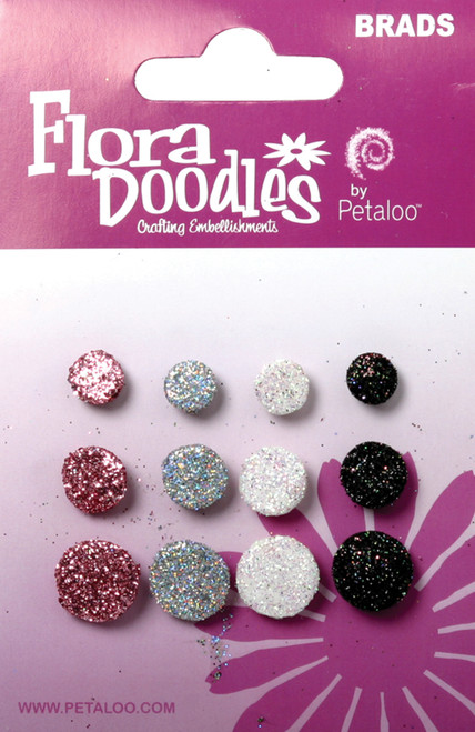 Flora Doodles Collection Black White Grey Pink Glitter Foam Brads by Petaloo - Pkg. of 12