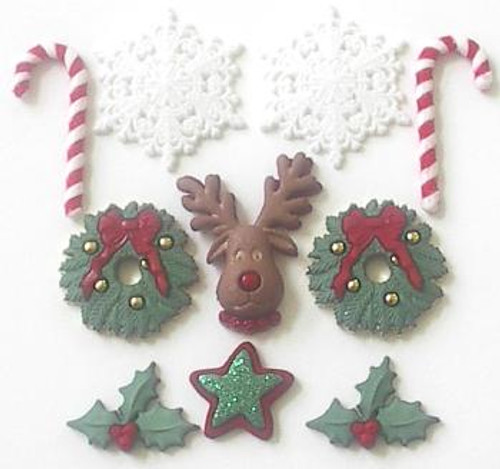 Deck The Halls Christmas Buttons by Jesse James Buttons